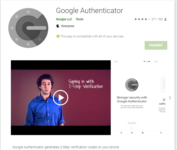 Google Authenticator Android phone app