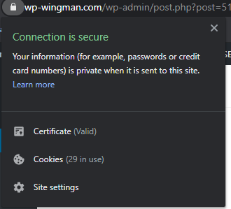ssl connection is secure web browser information